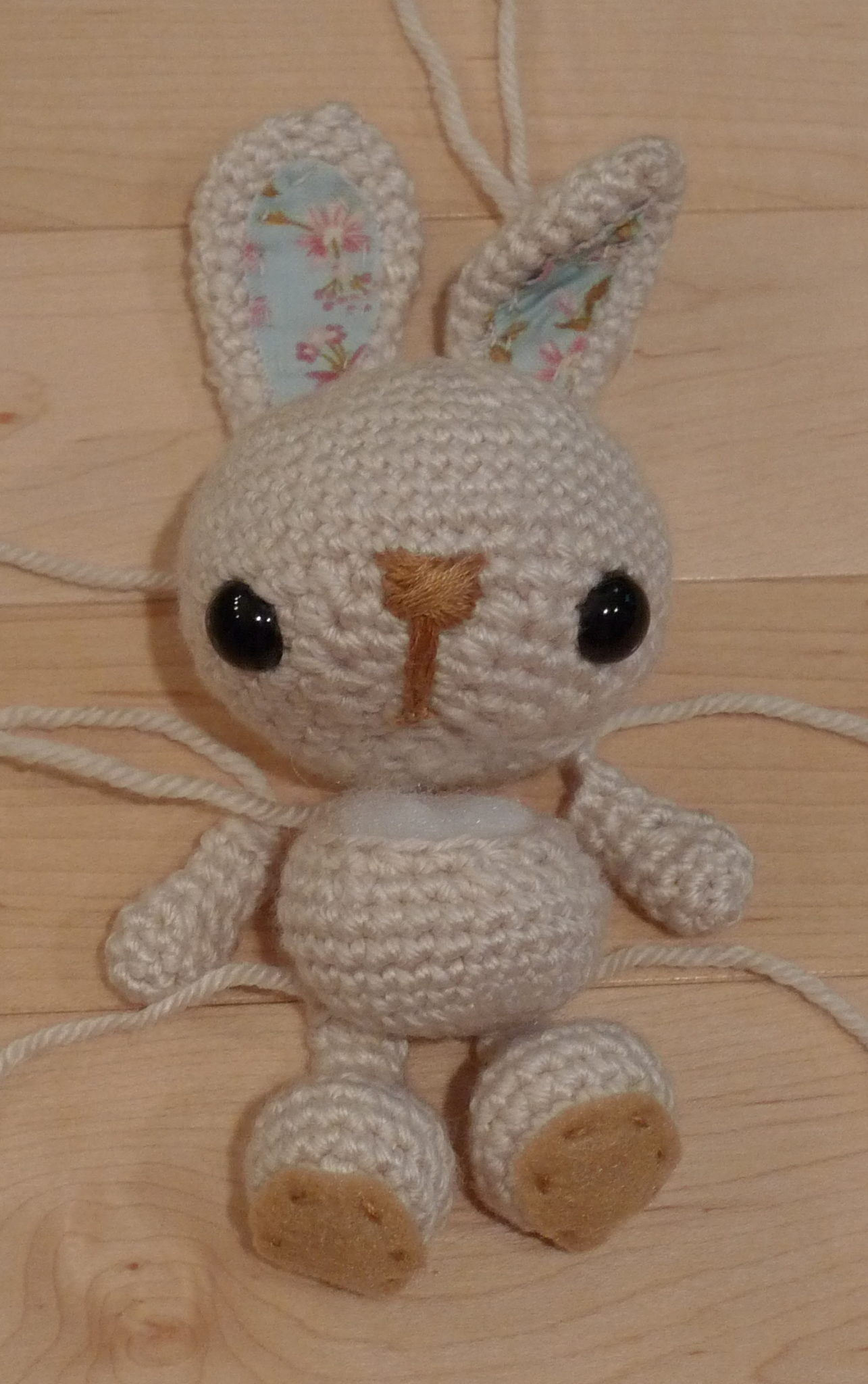I Attached The Body To The Head, The Ears To The Head (and Bent One Ear To  Give Him An Extra Cute Look), And Then The Legs To The Body