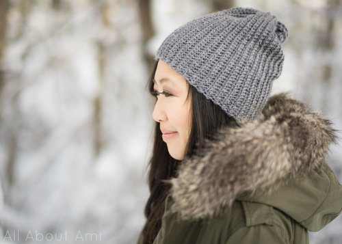 Easy Ribbed Pom Pom Beanie - All About Ami