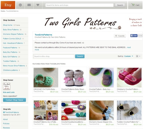 Two Girls Patterns on Etsy