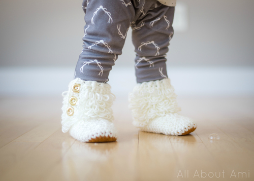 Crochet Toddler Loop Boots with Suede Sole