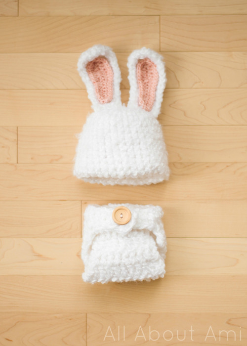 Crochet Fuzzy Baby Bunny Outfit