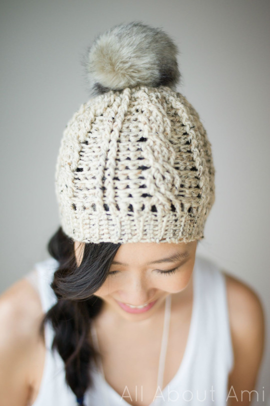 Crochet Cabled Beanie, version 2