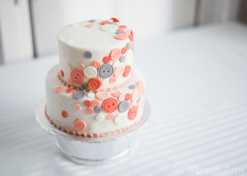 Cute As A Button Birthday Cake