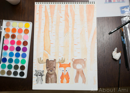 Woodland Creature Birthday Party Sketch