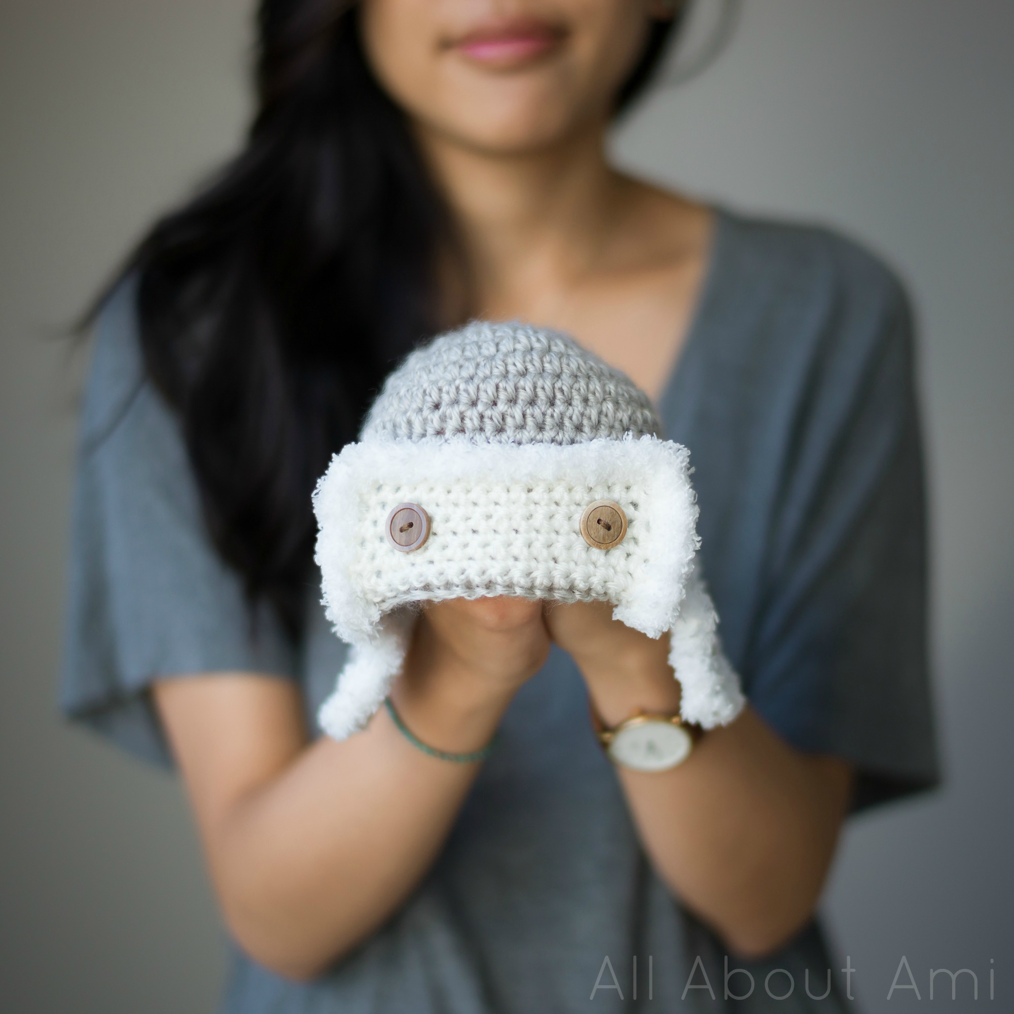 Crochet Pattern Baby Bunny Hat And Diaper Cover : Baby Aviator Hat - All About Ami
