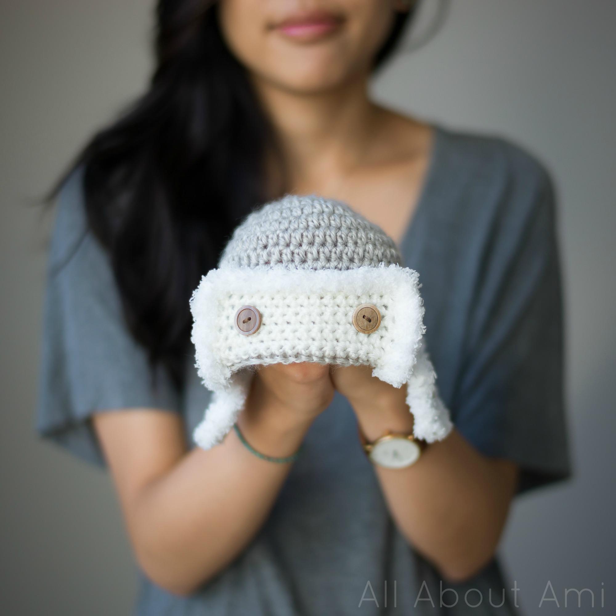 Child Crochet Aviator Hat Pattern : Baby Aviator Hat - All About Ami