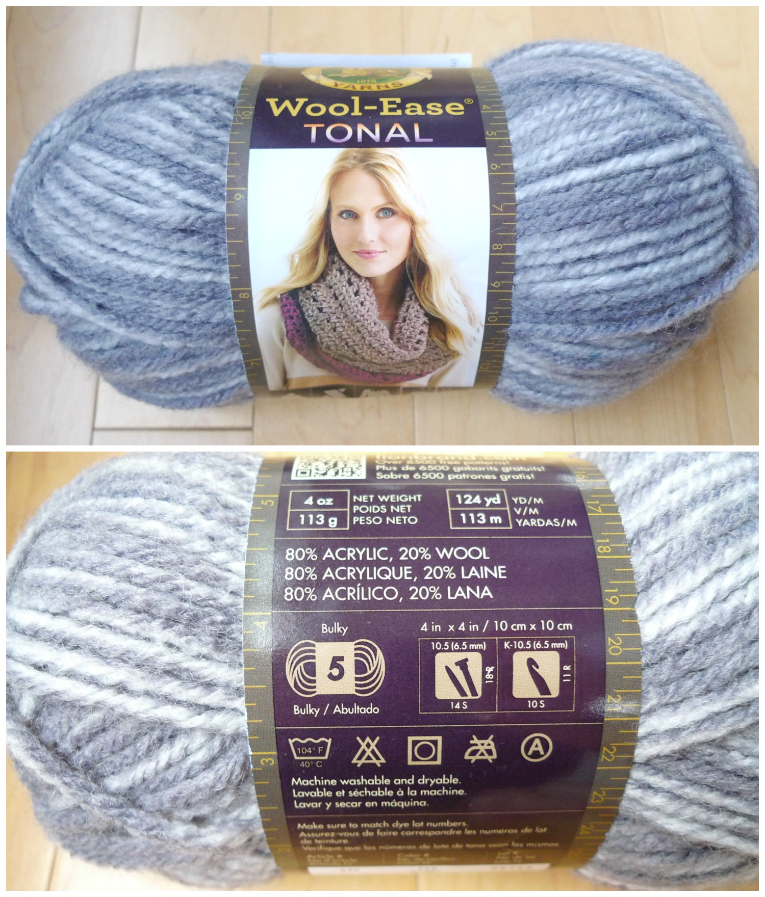 "36491ccbf41800 It is a bulky (level 5) yarn that is 80% acrylic and 20% wool. I  immediately gravitated towards the grey shades in ""Grey Marble"" (lighter  grey) and ""Smoke"" ..."