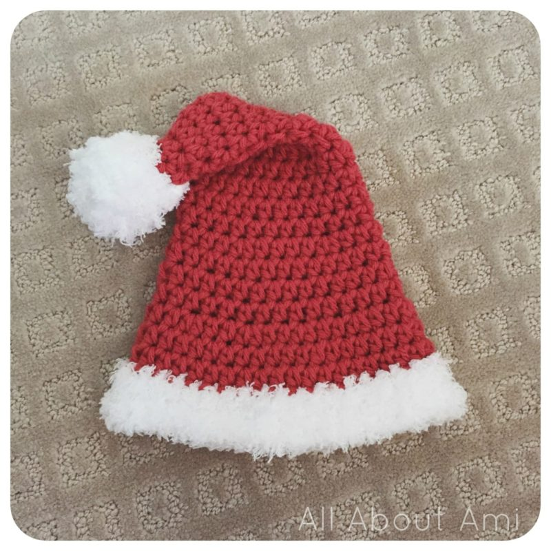 I wanted to crochet a Santa hat for our soon-to-arrive baby since she ll be  born so close to Christmas! I found this free pattern by TuTu Chic Boutique  HERE ... 214a04e9294