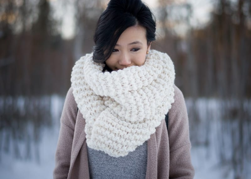 Knitting For Beginners: Simple Garter Stitch Scarf - All About Ami