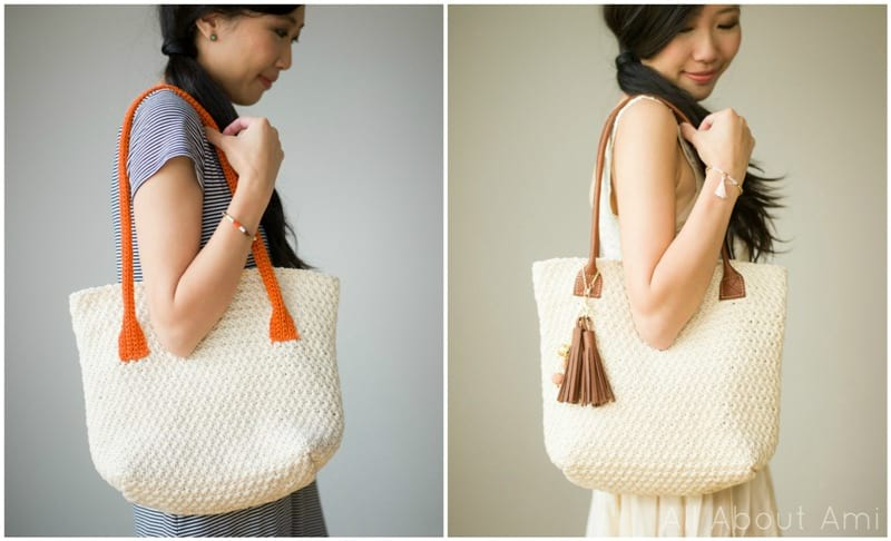 Crochet Star Stitch Purse with Crochet and Leather Handles