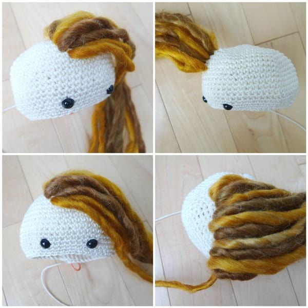 How to add hair to amigurumi dolls: advanced technique for a ... | 600x600