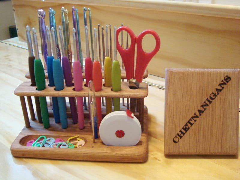 The SlimLine Twin Crochet Hook Organizer / Workstation