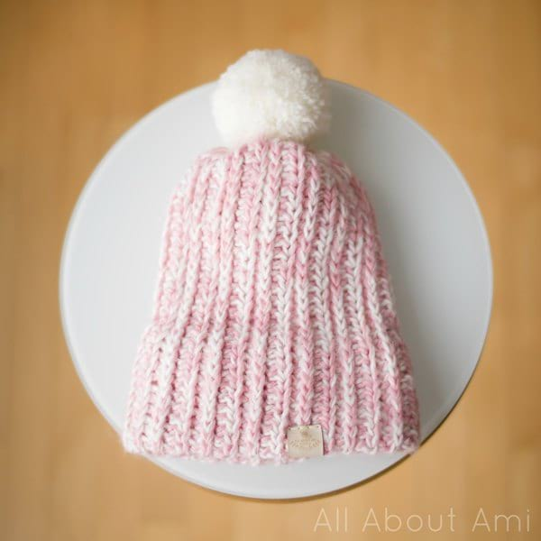 Snow Puff Ribbed Beanie