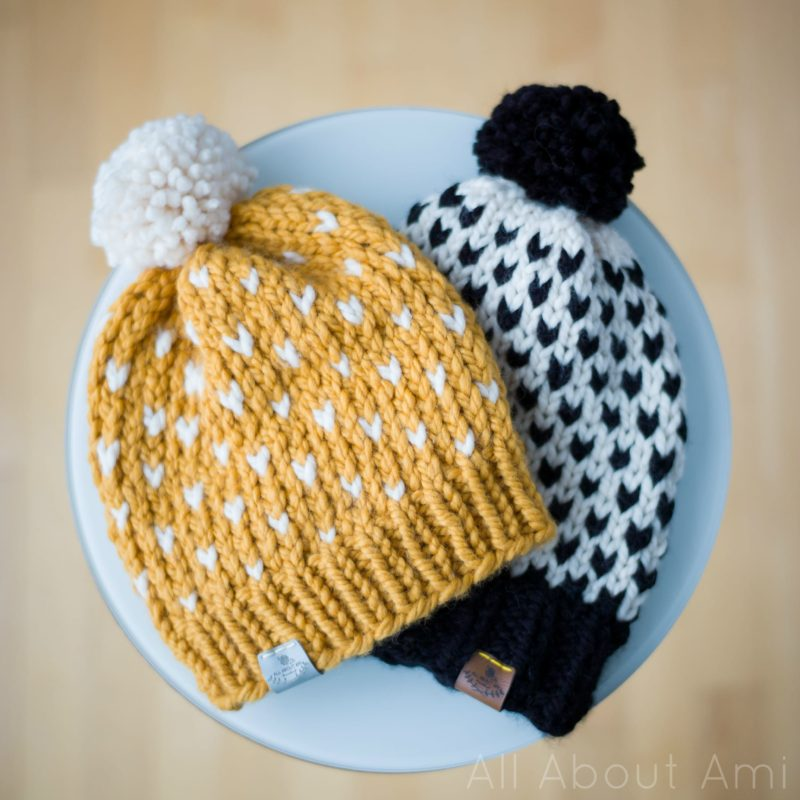 9edc89e5454 ... fair isle knitted hats! Aren t they beautiful  I ended up sewing a grey  label onto the mustard hat (I love the grey yellow combination) and a dark  brown ...