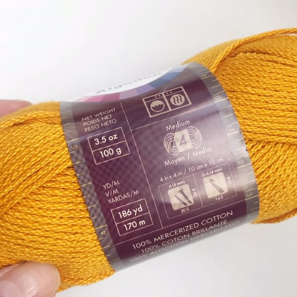 24/7 Cotton by Lion Brand Yarn in Goldenrod