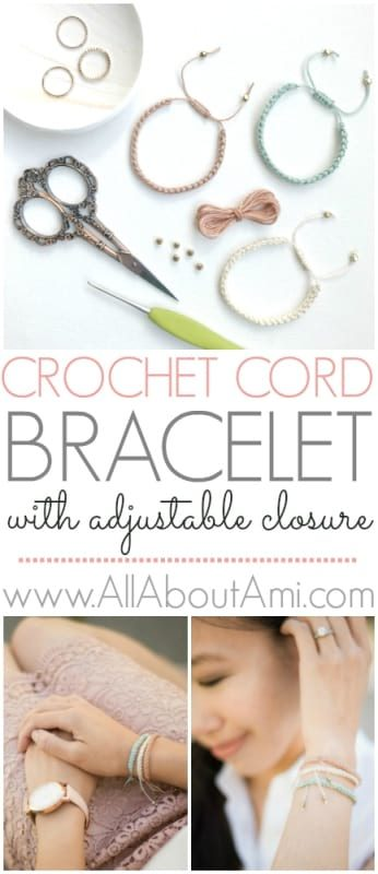 Crochet Cord Bracelet with Adjustable Closure