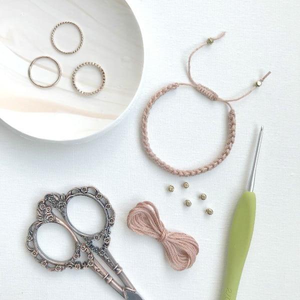 Crochet Cord Bracelet with Adjustable Closure