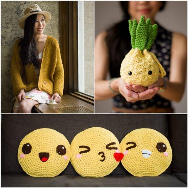 Midtown Cardigan, Amigurumi Pineapple Purse & Pillowji Pillows