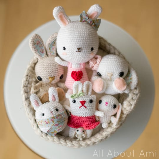 All About Ami Bunnies in a Crochet Basket