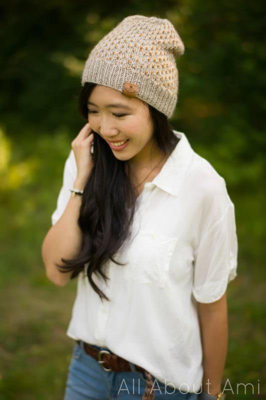 Duo Color Dotty Beanie Knit Pattern