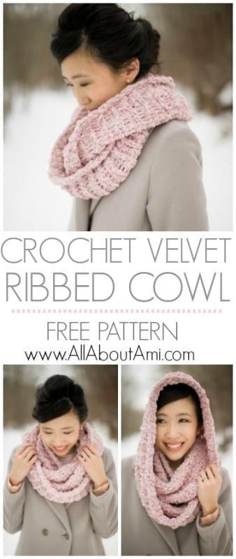 Crochet Velvet Ribbed Cowl