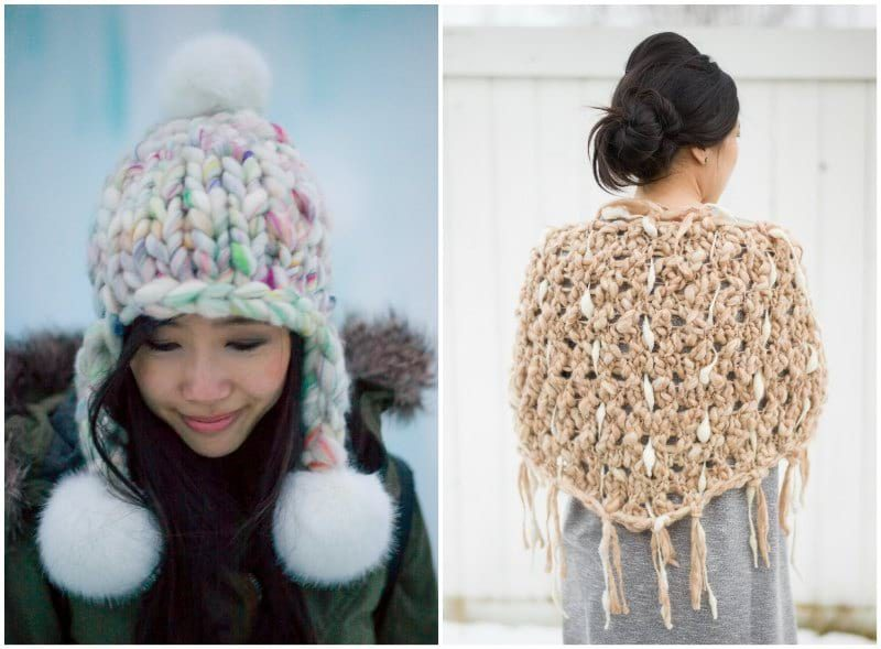 Knit Collage: Pom Bomb Hat & Dash Shawl