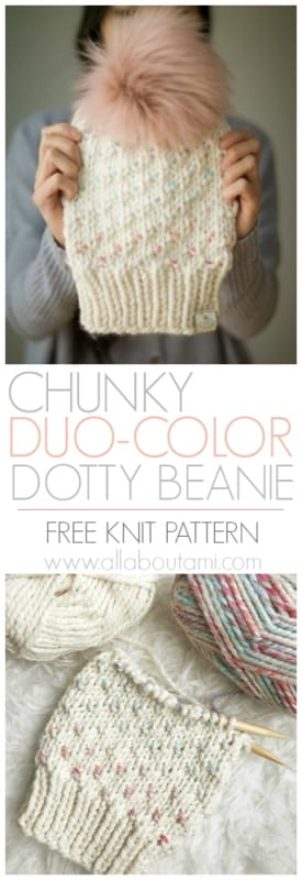 Chunky Duo-Color Dotty Beanie