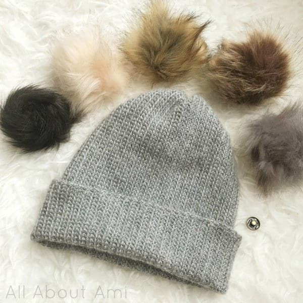 Rosewood Beanie with Press Button Faux Fur Pom Poms