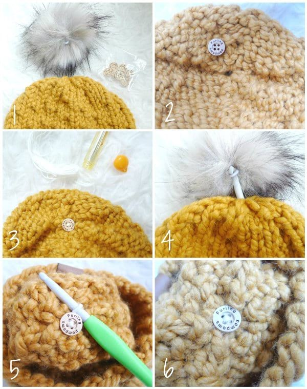 Faux Fur Pom Poms with Elastic Loop and Button