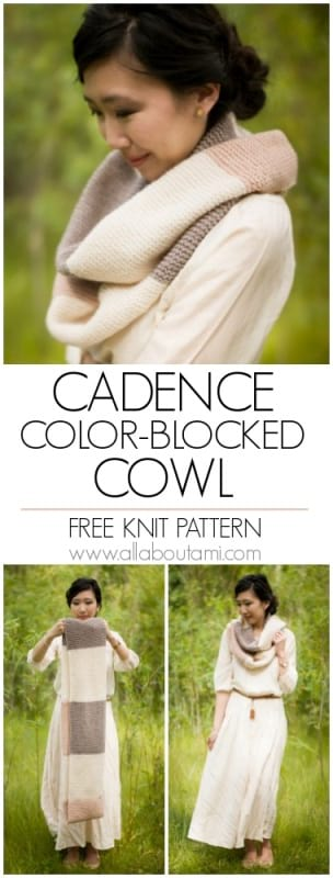 Cadence Color-Blocked Cowl Knit Pattern