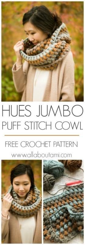 Hues Jumbo Puff Stitch Cowl
