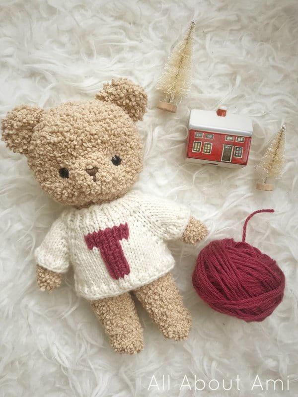 Knit Raglan Sweater Duplicate Stitch for Boucle Bear