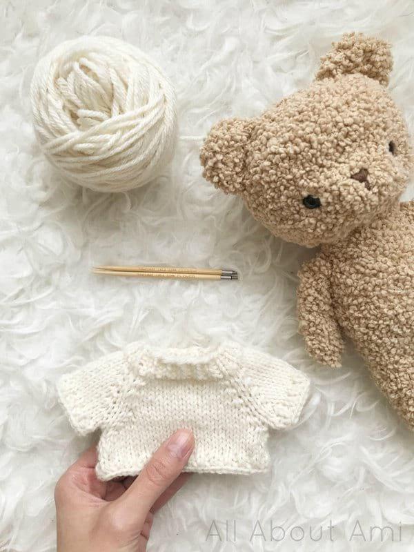 Knit Raglan Sweater for Boucle Bear